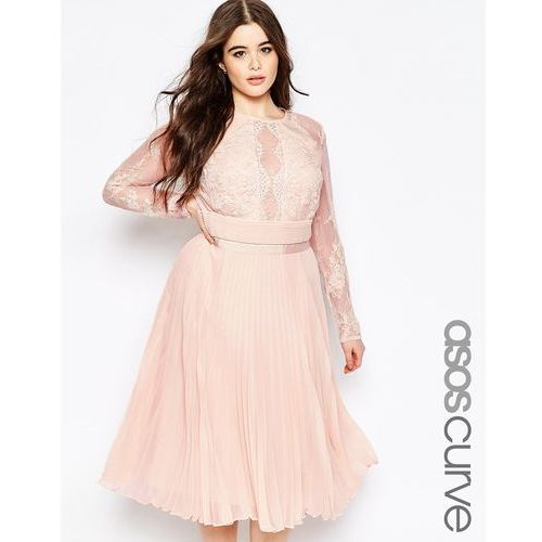 pleated midi dress with pretty eyelash lace - pink, Asos curve