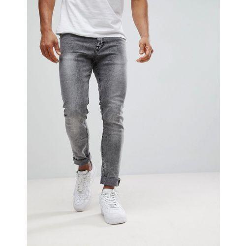 skinny fit jeans in black acid wash - black, New look