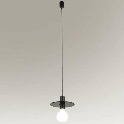 Shilo Industrialna lampa wisząca ikeda 7982 loftowa oprawa metalowy zwis dysk czarny