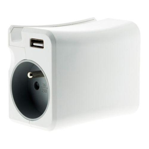 Rozgałęźnik Diall 2 gniazda z uziemieniem 16 A 2 USB + uchwyt, 080116