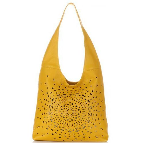 ażurowe torebki skórzane typu shopperbag żółte (kolory) marki Vittoria gotti