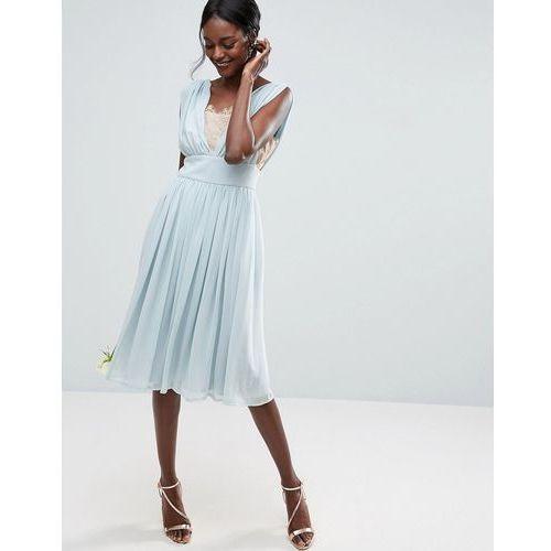 ASOS WEDDING Contrast Lace Insert Midi Dress - Blue, kolor niebieski