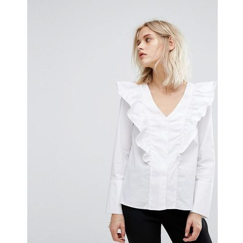 Mango Ruffle V Front Blouse - White, kolor biały