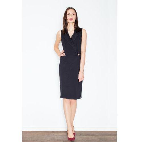 Czarna Kopertowa Midi Sukienka bez Rękawów, 1 rozmiar