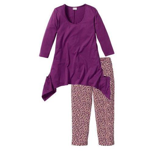 Bonprix Piżama ze spodniami 3/4 i shirtem z dłuższymi bokami fiołkowy z nadrukiem