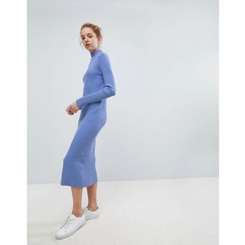 directional rib knit midi dress - blue marki Weekday