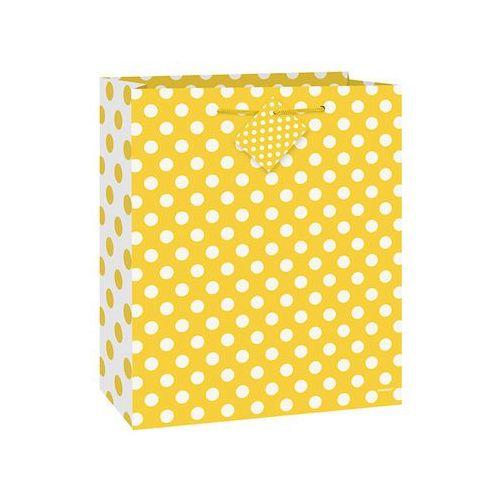 Unique Torebka prezentowa żółta w białe kropeczki 18x23 cm - 1 szt. (0011179644223)