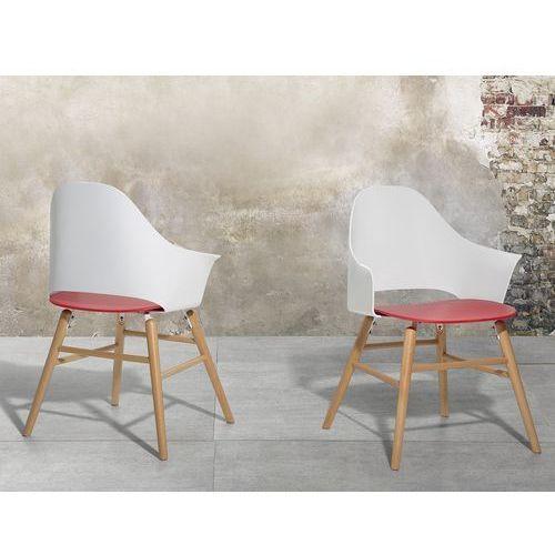 Krzesło biało-czerwone - Krzesło do jadalni, do salonu - krzesło kubełkowe - BOSTON, kolor czerwony