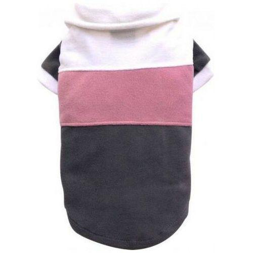 Doggy dolly sweter z polaru w paski, biało/różowo/szary, l 31-33 cm/46-48 cm - darmowa dostawa od 95 zł!