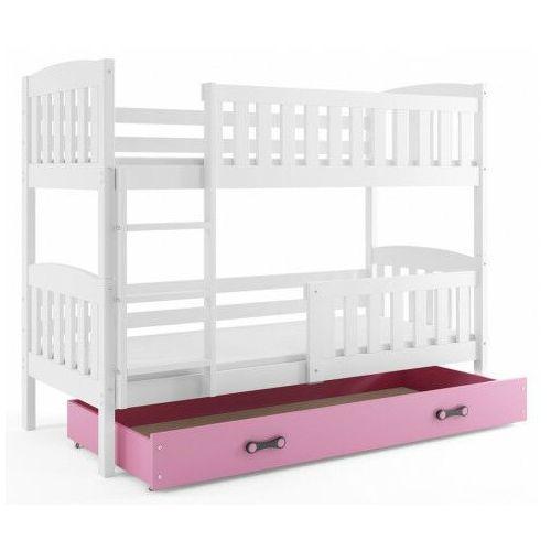 Piętrowe łóżko dla dzieci z różową szufladą 80x190 - elize 2x marki Elior