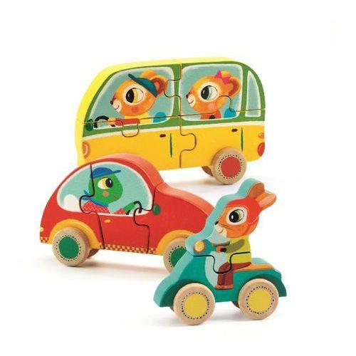 Drewniane puzzle samochody