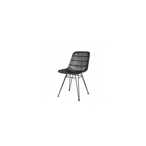 Krzesło jadalniane rattanowe czarne -  marki Hk living