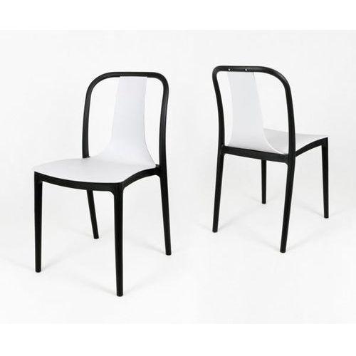 kr053 białe krzesło polipropylenowe - biały ||czarny marki Sk design