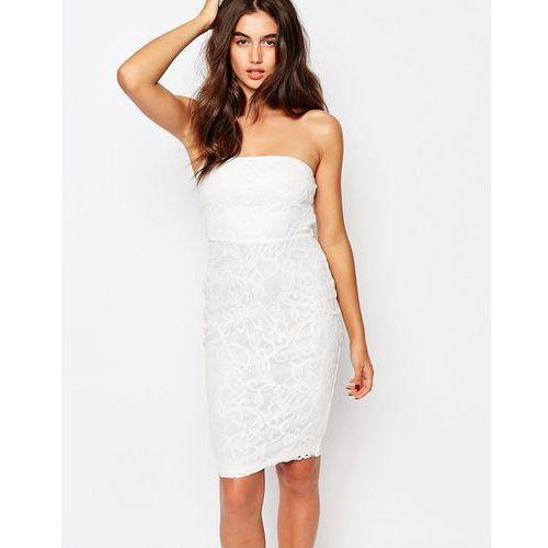 Missguided Floral Bandeau Lace Midi Dress - White, kolor biały