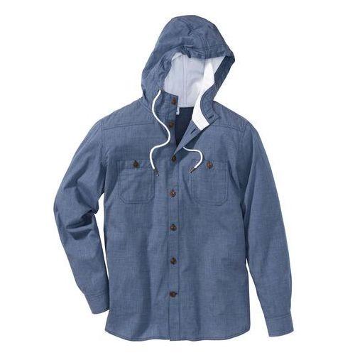 Koszula z długim rękawem, z kapturem regular fit indygo marki Bonprix