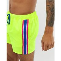 ASOS DESIGN swim shorts in neon yellow with side stripe in short length - Yellow, kolor żółty