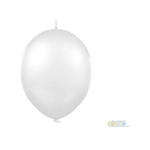 Twojestroje.pl Balon lateksowy pastel biały z łącznikiem 27 cm 1 szt. (7501060416198)