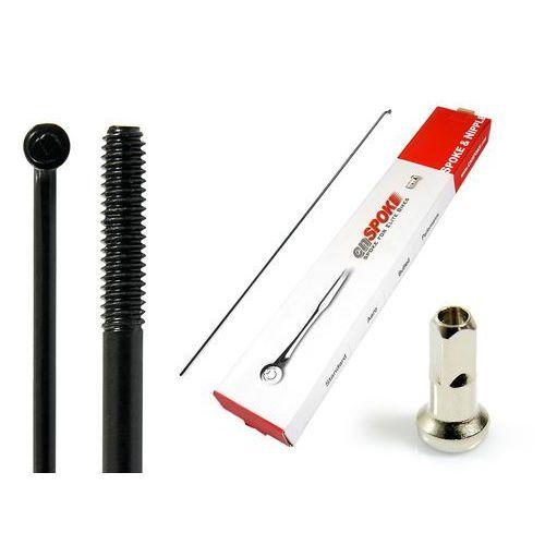 Szprychy CNSPOKE STD14 2.0-2.0-2.0 stal nierdzewna 224mm czarne + nyple 144szt., CN-STD224C