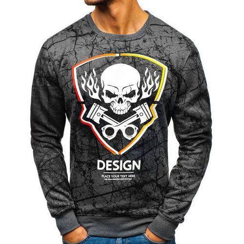 Bluza męska bez kaptura z nadrukiem grafitowa denley dd652, J.style