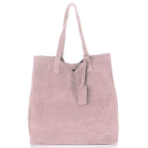 e6b71ff557356 uniwersalna torebka skórzana shopper xxl zamsz naturalny wysokiej jakości  pudrowy róż (kolory) marki Vittoria