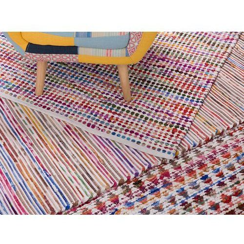Dywan - wielokolorowo-biały - 140x200 cm - bawełna - handmade - bartin marki Beliani