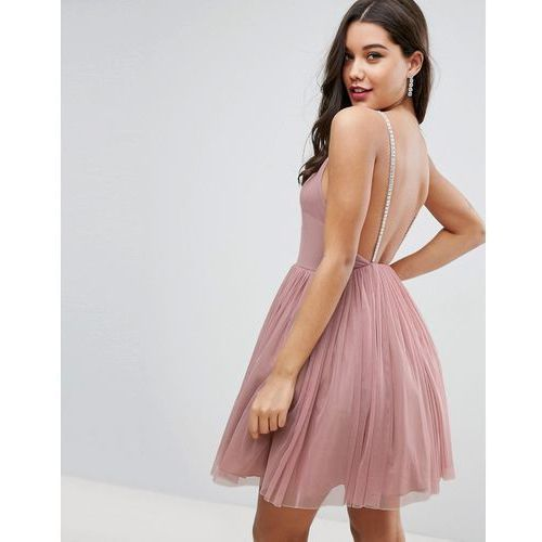 embellished strap mini tulle dress - pink marki Asos