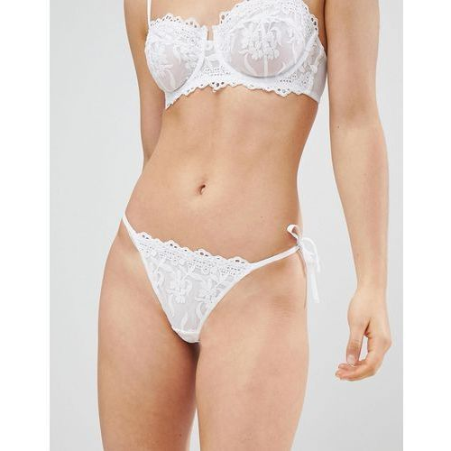 New Look Cotton Embroidered Lace Tanga Brief - White, bawełna