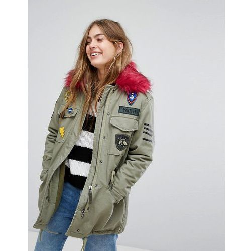 badge and patch detail parka - green, Bershka, 34-38