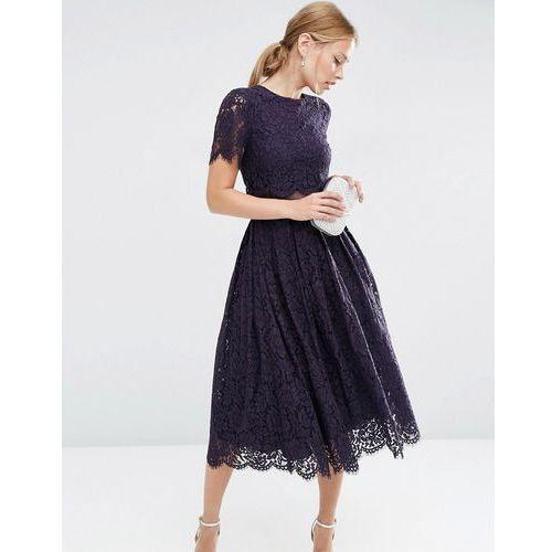 Asos  lace crop top midi prom dress - blue