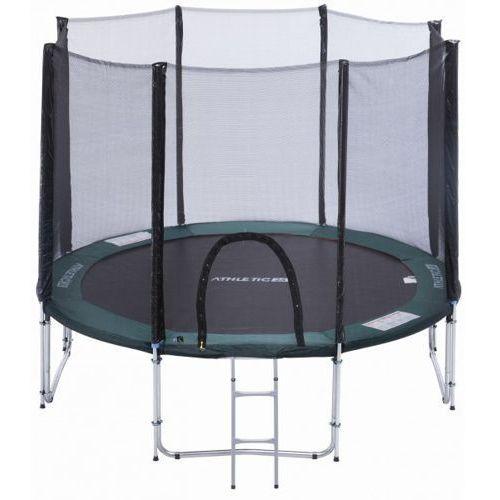 305 cm - trampolina ogrodowa z siatką zabezpieczającą + drabinka gratis! - zielony marki Athletic24