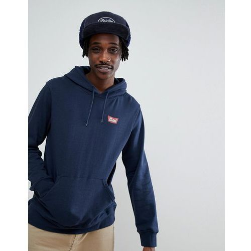 Brixton Stith Hoodie With Small Logo In Navy - Navy, kolor szary