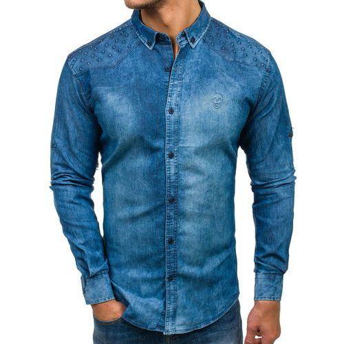 Madmext Koszula męska jeansowa z długim rękawem niebieska denley 0540