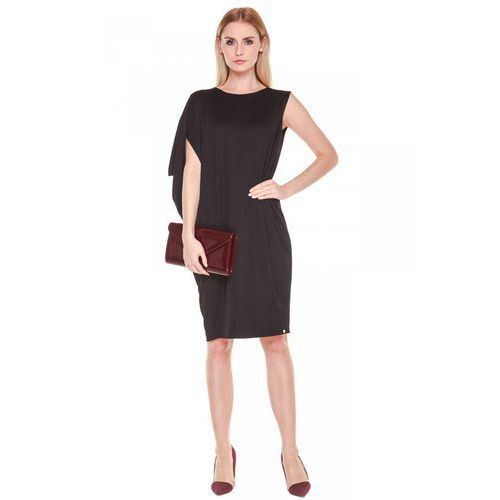 Czarna, asymetryczna sukienka - SU, asymetryczna