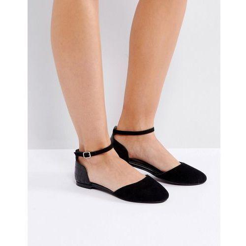 Park Lane Flat Ankle Tie Ballerina - Black