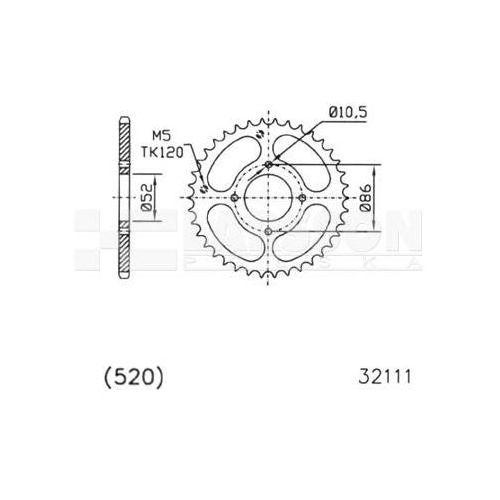 Zębatka tylna stalowa jt 50-32111-30, 30z, rozmiar 520 2302034 kymco mxer 150 marki Jt sprockets