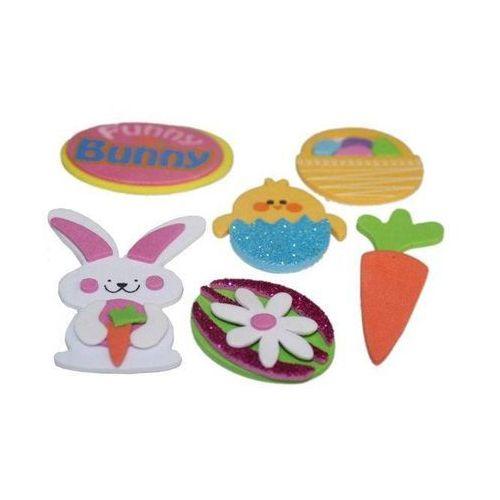 Bre Naklejki z pianki jajko, kurczaczek, królik, koszyczek na wielkanoc - 6 szt (5906190681430)