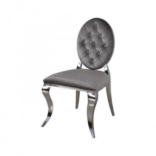 Bellacasa Krzesło ludwik ii glamour dark grey - nowoczesne krzesła pikowane guzikami (5908273392363)