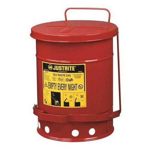 Justrite Bezpieczny pojemnik na odpady z blachy stalowej, okrągły, z pedałem nożnym, poj.