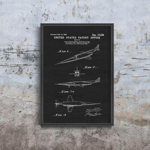 Vintageposteria.pl Plakat retro do salonu plakat retro do salonu samolot douglas x- patent vintage usa