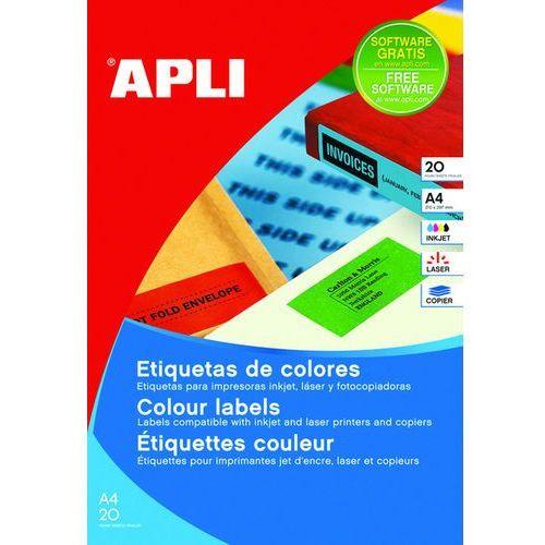 Etykiety kolorowe , 210x297mm, prostokątne, niebieskie, 20 ark. marki Apli