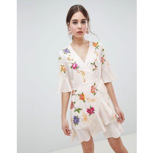 design embroidered wrap mini dress - cream, Asos