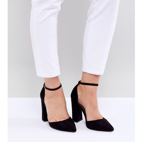 design pebble extra wide fit pointed high heels - black, Asos