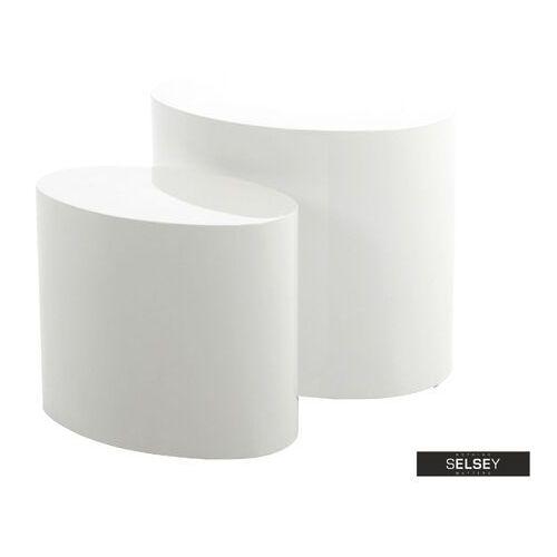 SELSEY Zestaw dwóch stolików kawowych Plomin 48x33 cm i 40x24,5 cm biały połysk (5903025297361)