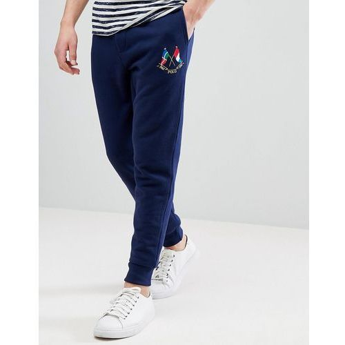 Polo Ralph Lauren Slim Fit Cuffed Jogger Embroidery Flags in Navy - Navy, slim