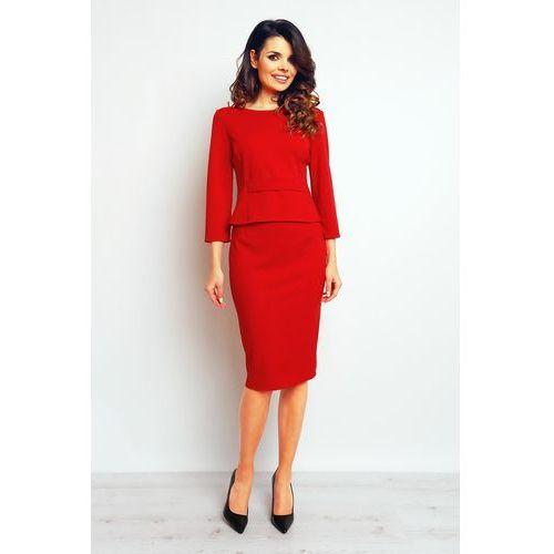 Czerwona Elegancka Ołówkowa Spódnica, kolor czerwony