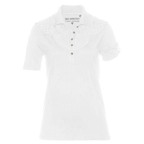 Shirt polo bonprix biały, bawełna