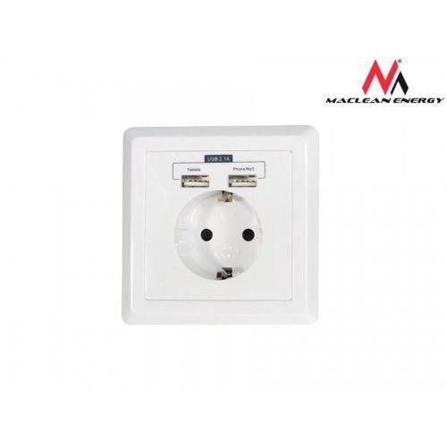 Maclean Gniazdko prądowe do zabudowy z USB MCE73 niemieckie USB (5V, 2.1A)