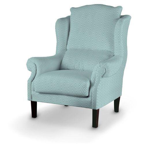 Dekoria  fotel, białe zygzaki na miętowym tle, 85x107cm, brooklyn