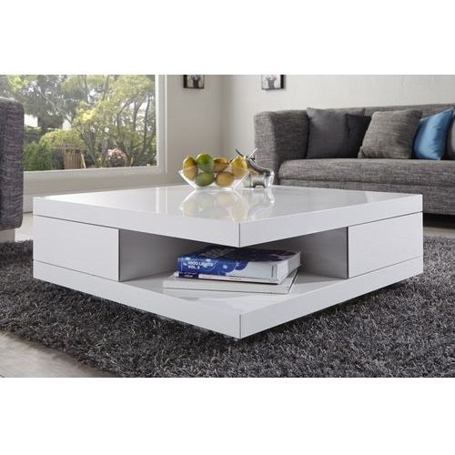 Stolik kawowy multifun z szufladami - biały marki Interior