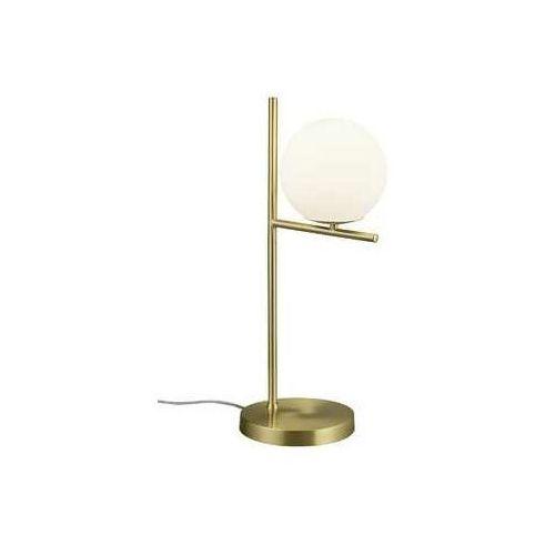 Trio pure 502000108 lampka stołowa lampa 1x28w e14 mosiądz mat / biały (4017807436075)